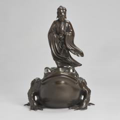 A magnificent Bronze Okimono of Jiraiya standing atop a toad - 1800075