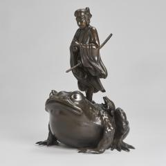A magnificent Bronze Okimono of Jiraiya standing atop a toad - 1800076
