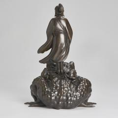 A magnificent Bronze Okimono of Jiraiya standing atop a toad - 1800079