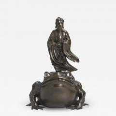 A magnificent Bronze Okimono of Jiraiya standing atop a toad - 1802892