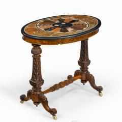 A mid Victorian walnut and pietra dura table - 1847692
