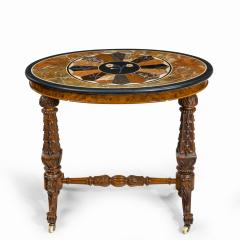 A mid Victorian walnut and pietra dura table - 1847695