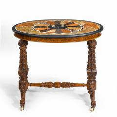 A mid Victorian walnut and pietra dura table - 1847696