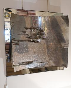 A mirror and aluminum wall sculpture Italy 70 - 1044935