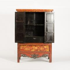 A pair of 19th century Chinese wardrobe chinoiserie lacquered red - 2007583