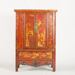 A pair of 19th century Chinese wardrobe chinoiserie lacquered red - 2007601