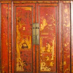 A pair of 19th century Chinese wardrobe chinoiserie lacquered red - 2007615