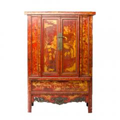A pair of 19th century Chinese wardrobe chinoiserie lacquered red - 2007619