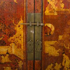 A pair of 19th century Chinese wardrobe chinoiserie lacquered red - 2007620