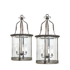 A pair of 20th century brass hanging lanterns in the style of Lutyens - 1484315
