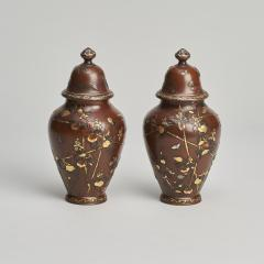 A pair of Antique Japanese miniature jars and covers - 1296470