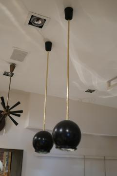 A pair of Brass and Black Metal Ceiling lamps Italy 70 - 1084419
