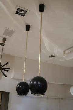 A pair of Brass and Black Metal Ceiling lamps Italy 70 - 1084424