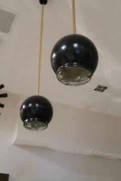 A pair of Brass and Black Metal Ceiling lamps Italy 70 - 1084425