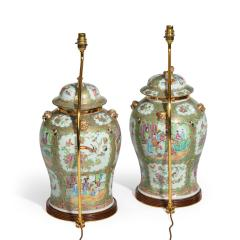 A pair of Chinese Canton Rose Medallion Vases and Covers - 1412036