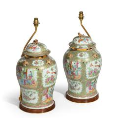 A pair of Chinese Canton Rose Medallion Vases and Covers - 1412041