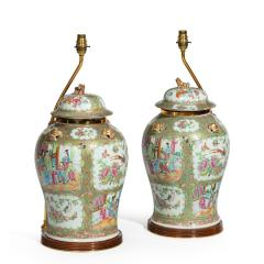 A pair of Chinese Canton Rose Medallion Vases and Covers - 1412042