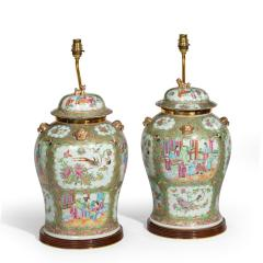 A pair of Chinese Canton Rose Medallion Vases and Covers - 1412043