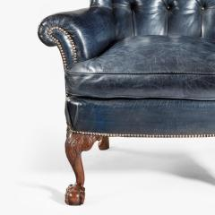 A pair of Chippendale style leather wing armchairs - 1950983