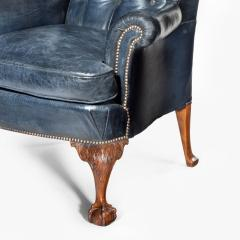 A pair of Chippendale style leather wing armchairs - 1950984
