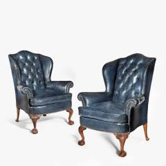 A pair of Chippendale style leather wing armchairs - 1950988