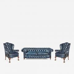 A pair of Chippendale style leather wing armchairs - 1953622