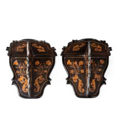 A pair of Dutch marquetry wall brackets - 1413801