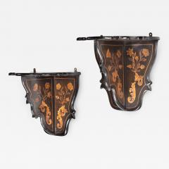 A pair of Dutch marquetry wall brackets - 1414667