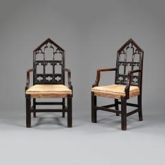 A pair of Gothic hall chairs - 923017
