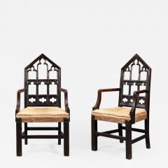 A pair of Gothic hall chairs - 923563