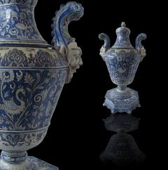 A pair of Italian Baroque Style Covered Vases On Stands 19th C - 1152173