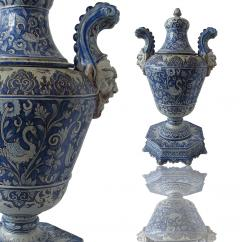 A pair of Italian Baroque Style Covered Vases On Stands 19th C - 1157178