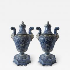 A pair of Italian Baroque Style Covered Vases On Stands 19th C - 1165443