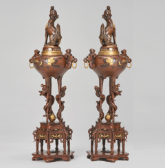 A pair of Japanese Bronze and gold Koro decorated with mythical beasts - 1811010