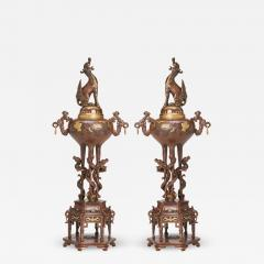 A pair of Japanese Bronze and gold Koro decorated with mythical beasts - 1812778
