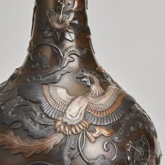 A pair of Japanese Meiji Period Bronze bottle vases - 1345879