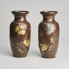 A pair of Japanese Meiji period Bronze vases - 1345886