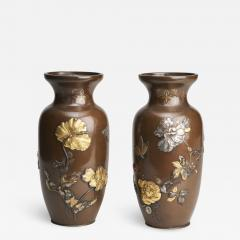 A pair of Japanese Meiji period Bronze vases - 1347116