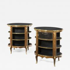 A pair of Napoleon III kingwood freestanding open bookcases - 1580371
