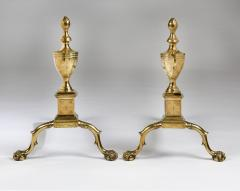 A pair of Philadelphia engraved Federal andirons - 1022775