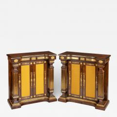 A pair of Regency brass inlaid rosewood side cabinets - 1849877