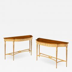 A pair of Victorian Hepplewhite style satinwood console tables - 1515099