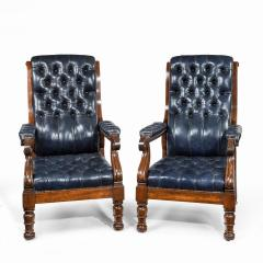 A pair of William IV mahogany and leather upholstered armchairs - 1840397