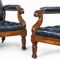 A pair of William IV mahogany and leather upholstered armchairs - 1840434
