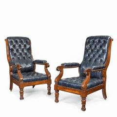 A pair of William IV mahogany and leather upholstered armchairs - 1840442