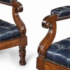 A pair of William IV mahogany and leather upholstered armchairs - 1840443