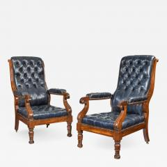 A pair of William IV mahogany and leather upholstered armchairs - 1841681