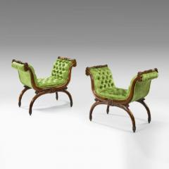 A pair of antique Regency cross over stools - 804642