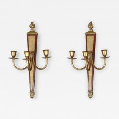 A pair of bronze and wood sconces France XIXth century - 998617