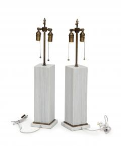 A pair of column shaped lamps Silk Georgette marble  - 1939627